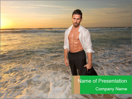 Man on the sea PowerPoint Templates