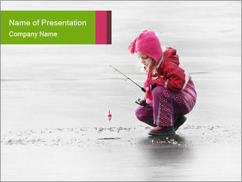 Little child fishing PowerPoint Template - Slide 1