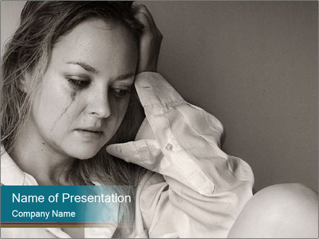 Woman  a severe depression PowerPoint Templates