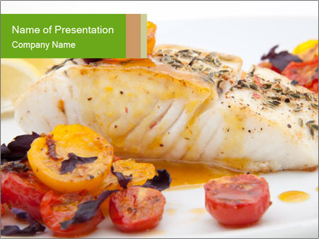 Pan fried halibut PowerPoint Template