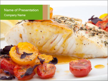 Pan fried halibut PowerPoint Template - Slide 1