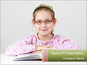 Cute schoolgirl PowerPoint Template - Slide 1