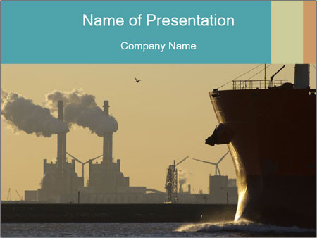 A ship entering the port PowerPoint Template