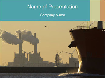 A ship entering the port PowerPoint Template - Slide 1
