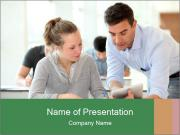 Teacher with student PowerPoint Templates