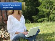 Blond woman sat PowerPoint Templates