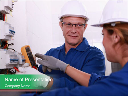 Electricians working PowerPoint Template