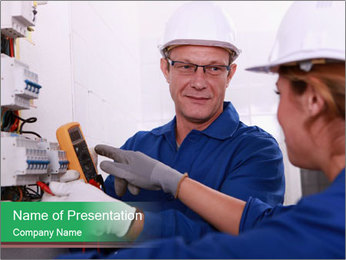Electricians working PowerPoint Template - Slide 1