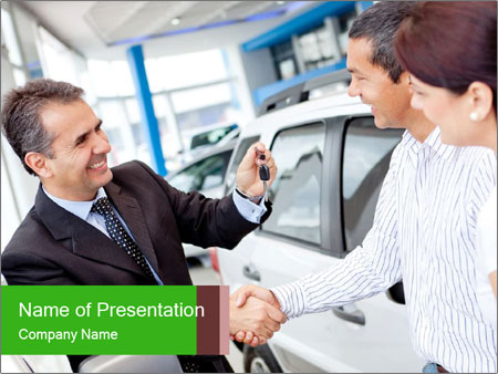 Couple buying a car PowerPoint Templates