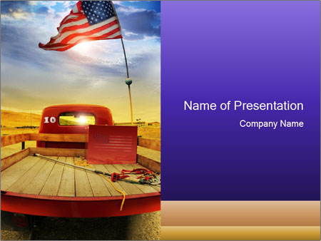 Truck with American flag PowerPoint Template