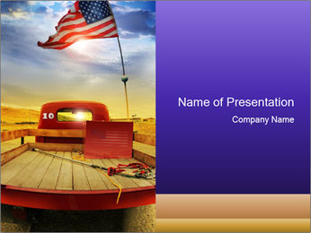 Truck with American flag PowerPoint Template - Slide 1