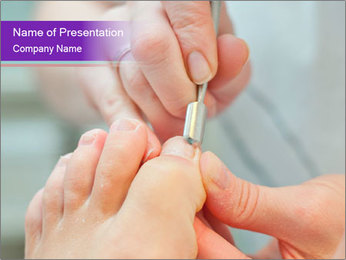 Pedicure in process PowerPoint Template
