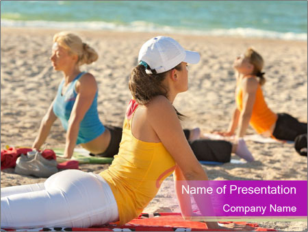 Women doing yoga PowerPoint Templates