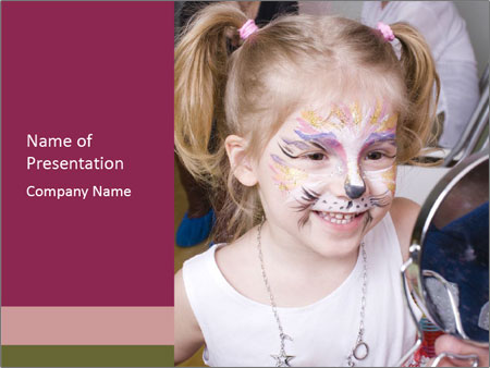 Little girl having face painted PowerPoint Templates