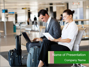 Business travellers waiting PowerPoint Template - Slide 1
