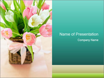 Pink tulips PowerPoint Template - Slide 1