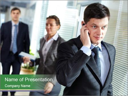 Businessman calling PowerPoint Template