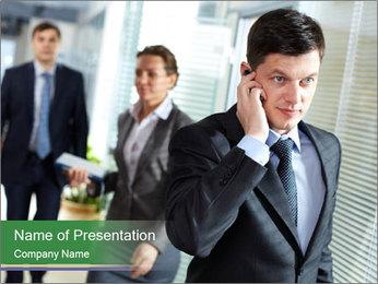 Businessman calling PowerPoint Template - Slide 1