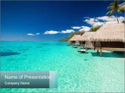 Villas on the green tropical beach PowerPoint Templates