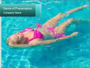 Woman In a Blue Pool PowerPoint Templates