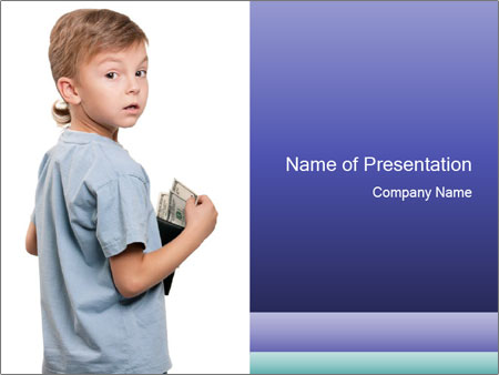 Little boy holding a dollars PowerPoint Templates