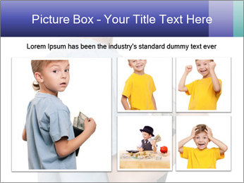 Little boy holding a dollars PowerPoint Templates - Slide 19
