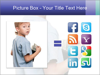 Little boy holding a dollars PowerPoint Templates - Slide 21