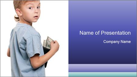 Little boy holding a dollars PowerPoint Template