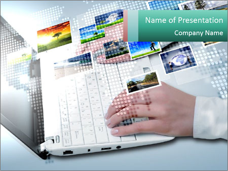 Laptop and business person PowerPoint Templates