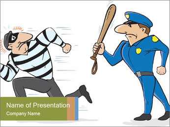 Policeman runs after a thief PowerPoint Template - Slide 1
