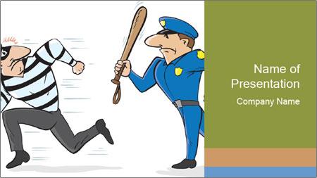 Policeman runs after a thief PowerPoint Template