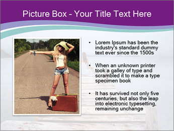 Woman hitchhiking along a road PowerPoint Template - Slide 13
