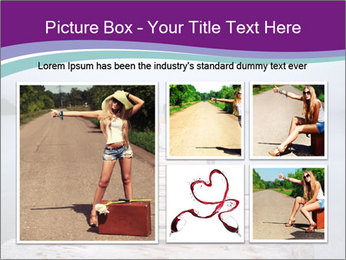 Woman hitchhiking along a road PowerPoint Template - Slide 19