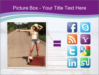 Woman hitchhiking along a road PowerPoint Template - Slide 21