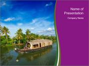 Houseboat on Kerala backwaters PowerPoint Templates