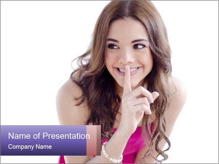 Cute young brunette PowerPoint Template