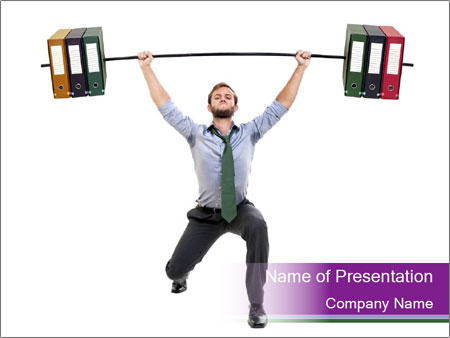 Muscular businessman PowerPoint Template