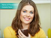 Woman holds a cup PowerPoint Templates