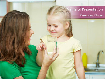Girl drinking water PowerPoint Template