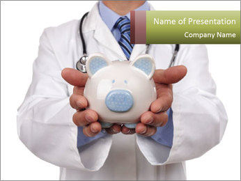 Doctor holding piggy bank PowerPoint Template - Slide 1
