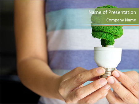 Hand holding eco light bulb PowerPoint Template