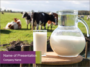 Milk on wooden plate PowerPoint Template
