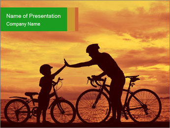 Biker family silhouette PowerPoint Template