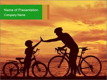 Biker family silhouette PowerPoint Templates - Slide 1