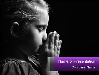Praying child PowerPoint Template