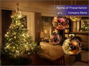 Christmas tree lights PowerPoint Templates