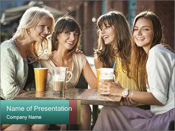 Women drinking coffee PowerPoint Template - Slide 1