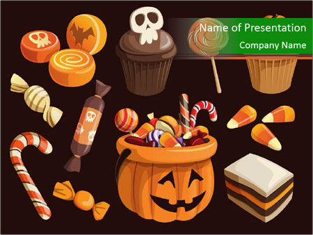 Colorful halloween sweets PowerPoint Template