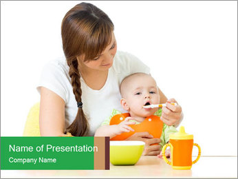 Young mother PowerPoint Template - Slide 1