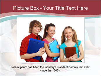 Four students sitting in classroom PowerPoint Template - Slide 16